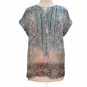 Lavender Brown Snake Print Tunic Top Size Small